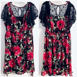 Floral Print Dress Black Lace Roses Flare Sleeves